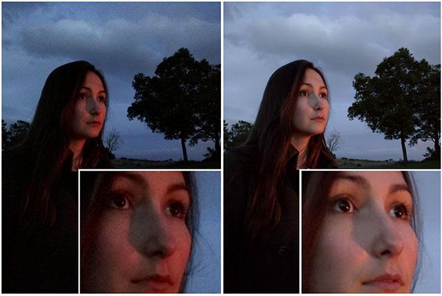 Low Light Test. Links ohne HDR+, rechts mit HDR+ - Bild: Google