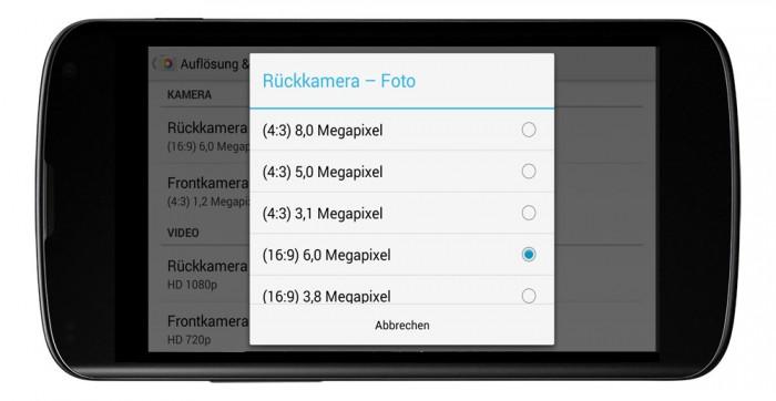 Google Kamera App auf 16:9 um das Vorschaubild auf dem ganzen Bildschirm zu zeigen