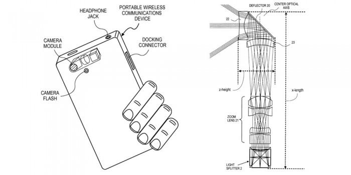 Zoom Linse und 3 Sensoren zur Erfassung der Bildinformationen -Bild: Apple / USPTO