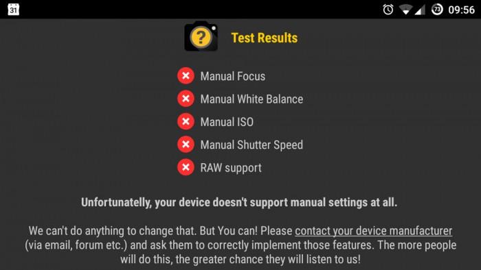 Manual Camera Compatibility: negatives Testergebnis auf die Camera2 API