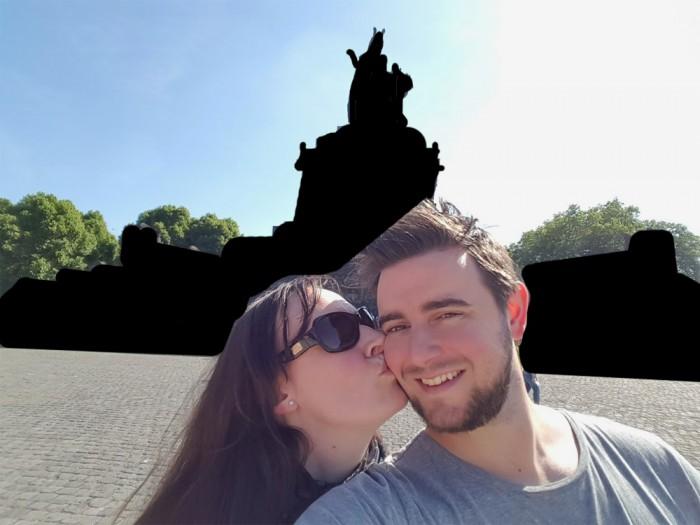 So könnte demnächst ein Selfie vor dem Deutschen Eck in Koblenz aussehen