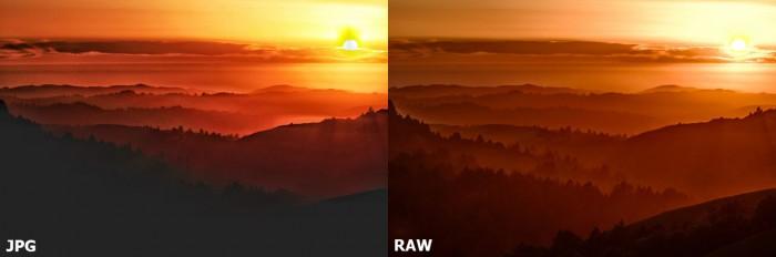 Vergleich JPG RAW Aufnahme